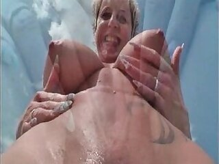 german-lady-mature-older woman-outdoor-squirt