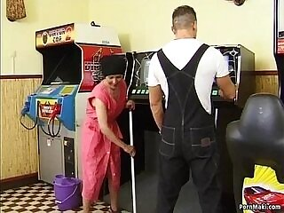 cock-granny-hairy-old and young-pool-table